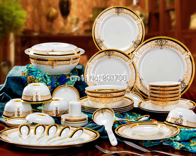 Wholesale bone china dinner set 56pcs+15pcs ceramic dinner