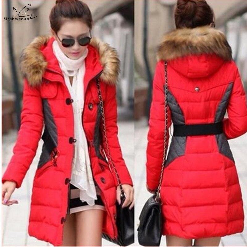 2017 New Brand Fashion Clothing Fur Hooded Zipper Long Style Women Warm   Down     Coat   4 Color Winter Parkas   Coat