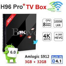DHL H96 Pro Plus 3กรัม32กรัมAndroid 6.0กล่องทีวีAmlogic S912 Octa Core 3กิกะไบต์4พันสมาร์ทมินิพีซีกล่องรับสัญญาณWifiบลูทูธVS a95x t v box