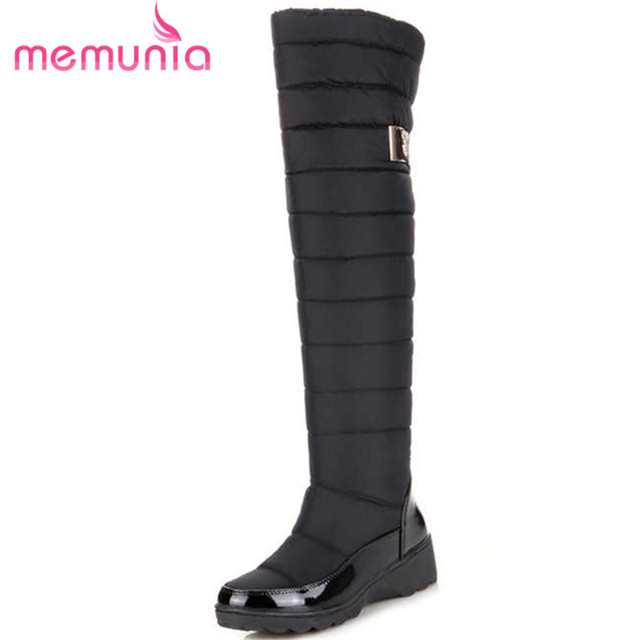 MEMUNIA Russia winter boots women warm knee high boots round toe down fur ladies fashion thigh snow boots shoes waterproof botas 1