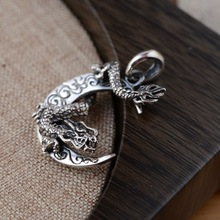 S925 стерлингового серебра Кулон Античный стиль дракон кулон Изысканная личность мужской подарок