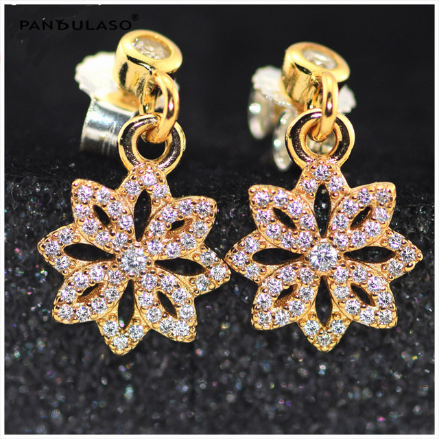 Lace Botanique Gold plated Stud Earrings for Women Fashion NEW Year Bijouterie Gifts 925 Sterling-Silver-Jewelry Stone Earrings