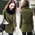 2017 Autumn Women Slim Woolen Blends Coat Long Sleeve Female Outerwear Cloak Overcoat Elegant Medium-Long Plus Size