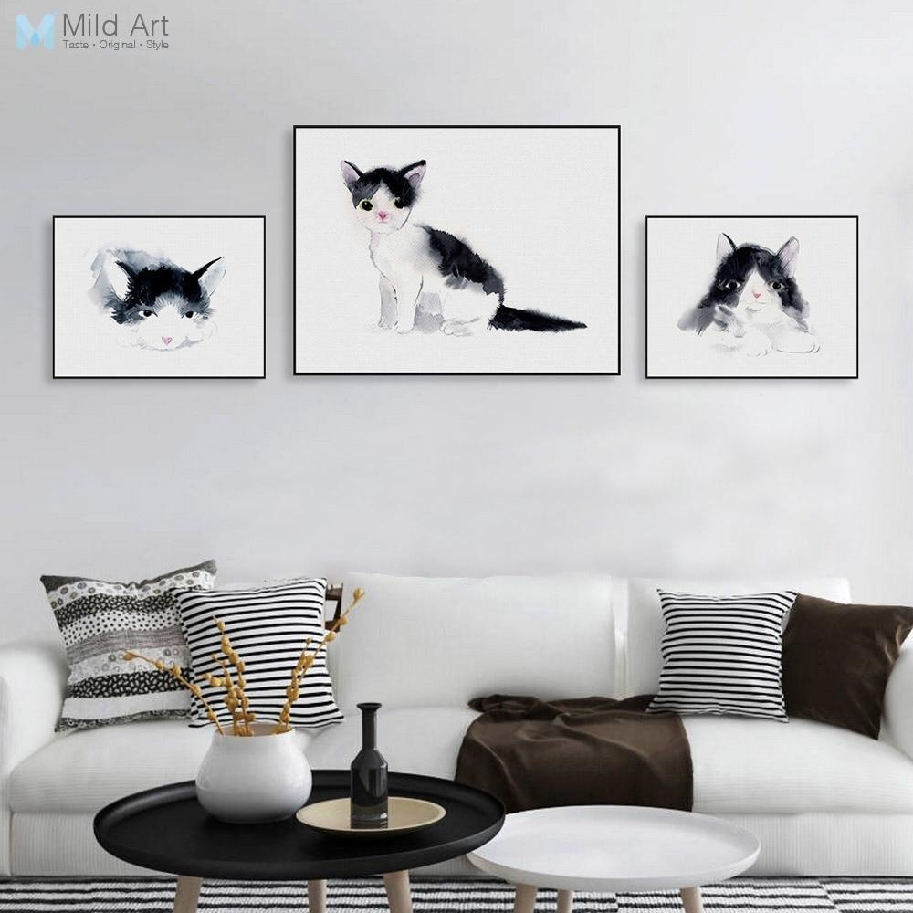 wohnzimmer wand poster : Triptychon Aquarell Kawaii Tier Kitty Katze Poster Nordic
