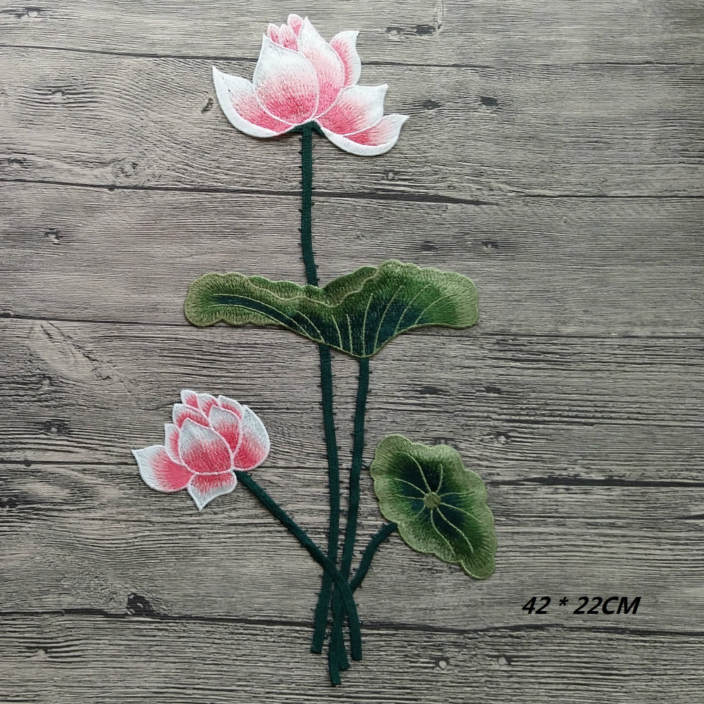 1ks Nové kvetoucí lotosové velké nášivky vyšívané našité na patách Flower Sticker Craft Repair Diy Home Decoration High Quality