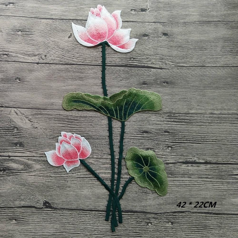 1db új, virágzó Lotus Big Applique hímzett varrás foltokkal Virágmatrica kézműves javítás Diy lakberendezés magas színvonalú