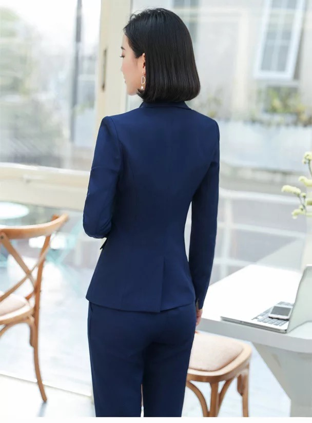 Women 2 Piece Set Formal Pants Suits Blazer Jacket Office Lady Work Business Uniform Trousers 2019 Autumn Clothing Large 4XL XXL