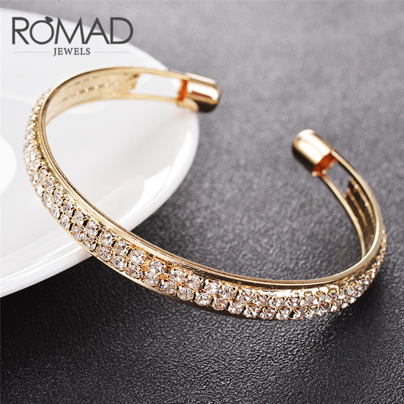 ROMAD 2 Rows Opening Bracelets Women Crystal Rhinestone Bangle Wristband Cuff Open Bracelets Wedding Party Charms Jewelry R4