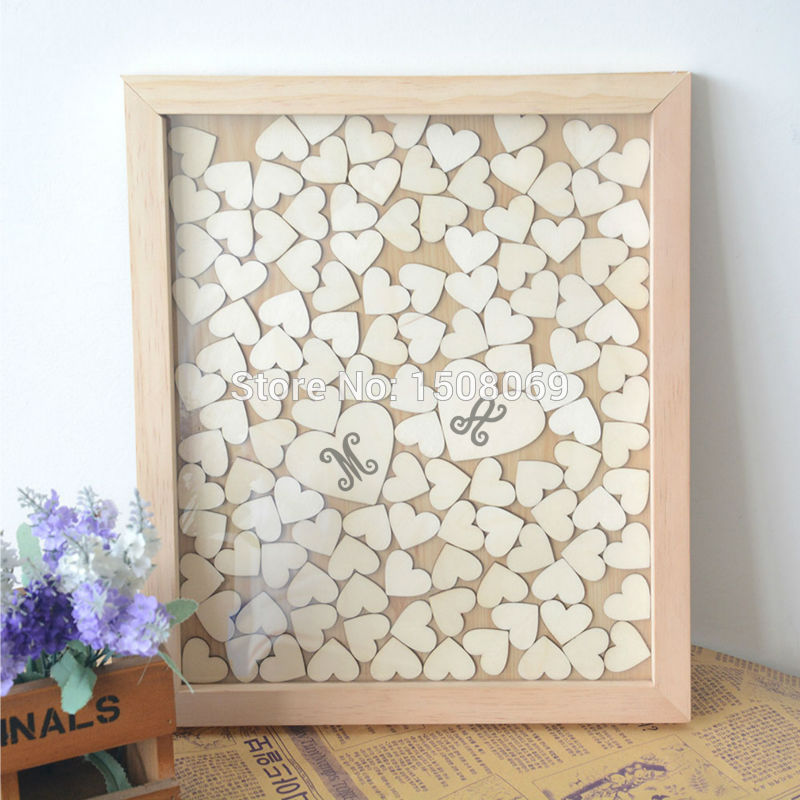 Us 3884 15 Offcustomized Color And Letters Wedding Guest Book Wooden Heart Guest Book For Engagement Giftguest Book Frame With 120 Hearts In
