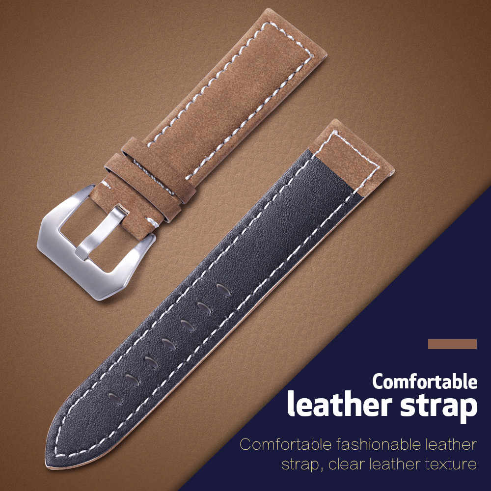 Genuine Leather Watch Band Kompatibel untuk 18 Mm 20 Mm 22 Mm 24 Mm Lebar Band Watch Aksesoris Frosted Belt tali Kulit Asli