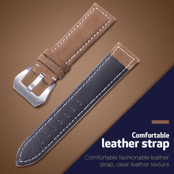 Genuine Leather Watch Band Compatible for 18mm 20mm 22mm 24mm Width Bands Watch Accessories Frosted Belt Genuine Leather Strap genuine crazy horse leather watch band 20mm 22mm 24mm oil wax leather men s wristwatch strap for amazfit bip watch accessories