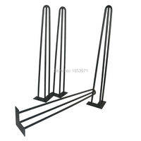 Free Shipping 28 Hairpin Legs Matte Black 3 Rods Set Of 4 Dining Table Legs Strong