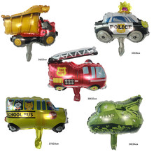 1pcs mini Toy Car Foil Ballon Kids Baby Shower Boy Tank Plane Ambulance Bus Fire Truck Birthday Party Decorations kids Balloons(China)