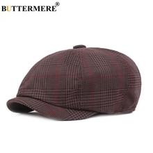 BUTTERMERE Octagonal Hat Women Men Plaid 100%Cotton Newsboy Cap Coffee Gatsby British Style Brand Spring Summer Painters
