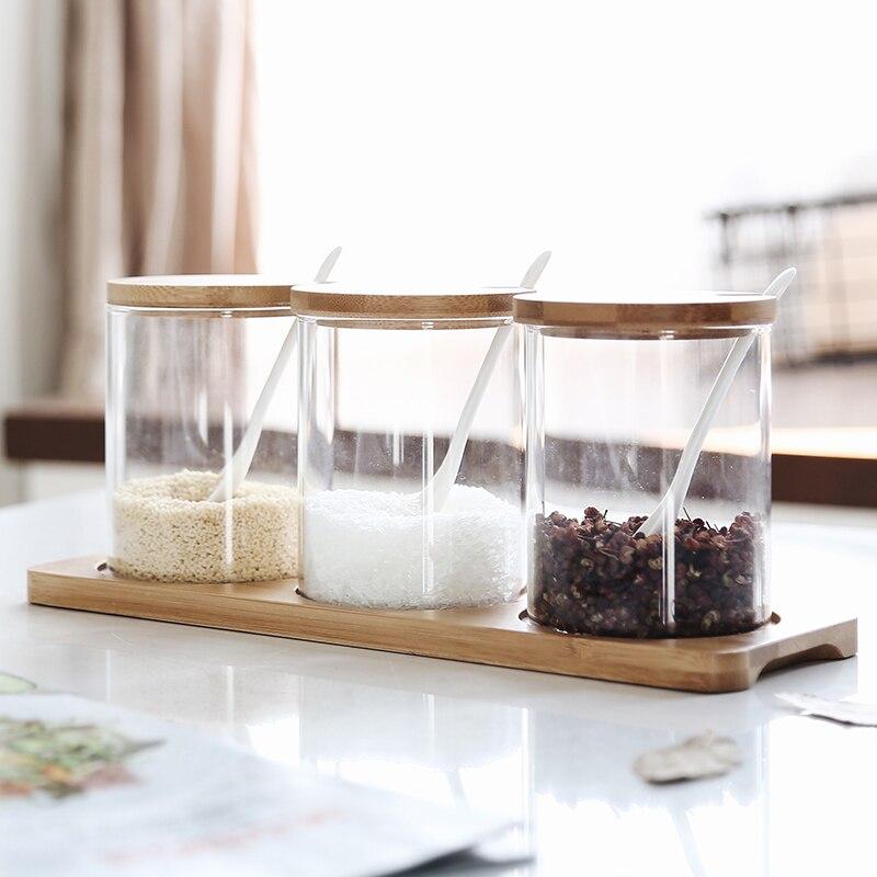 Pot à épices en verre de silicium de bore japonais 450 ML 3 pièces ensemble Pot aromatisant sel cuisine assaisonnement Pot Condiment boîte