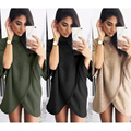 Plus Size S~XL Fashion Casual High Neck Out Wear Flare Half Sleeve Irregular Hem Pullover Jumper Knitting Women Sweater Tops