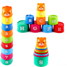 9PCS Mini Bear Stack Cup Educational Baby Toys Rainbow color Kids Figures Folding Tower Funny Piles Number Letter Toy sets