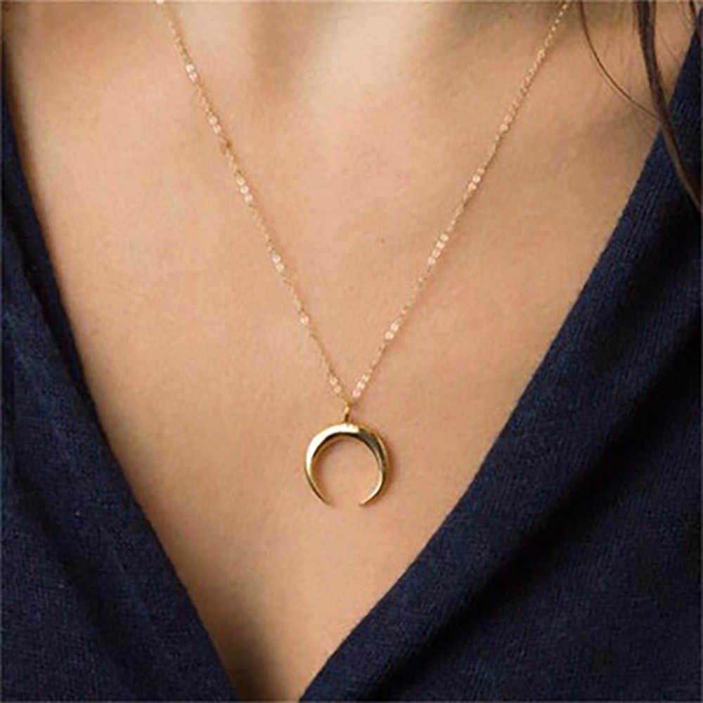 Hot Delicate Kolye Pendant Necklace Curved Crescent Moon Necklace Gold Silver Women Necklace Ladies Jewelry Birthday Gifts L0621