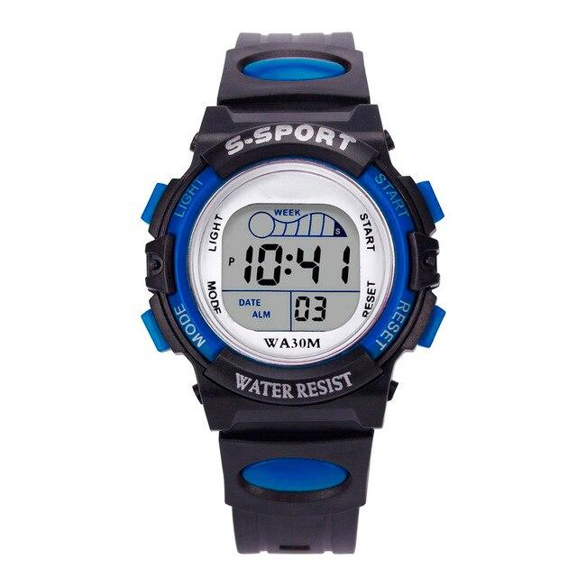 Splendid Waterproof Children Boys Digital LED Sports Watch Kids Alarm Date Watch