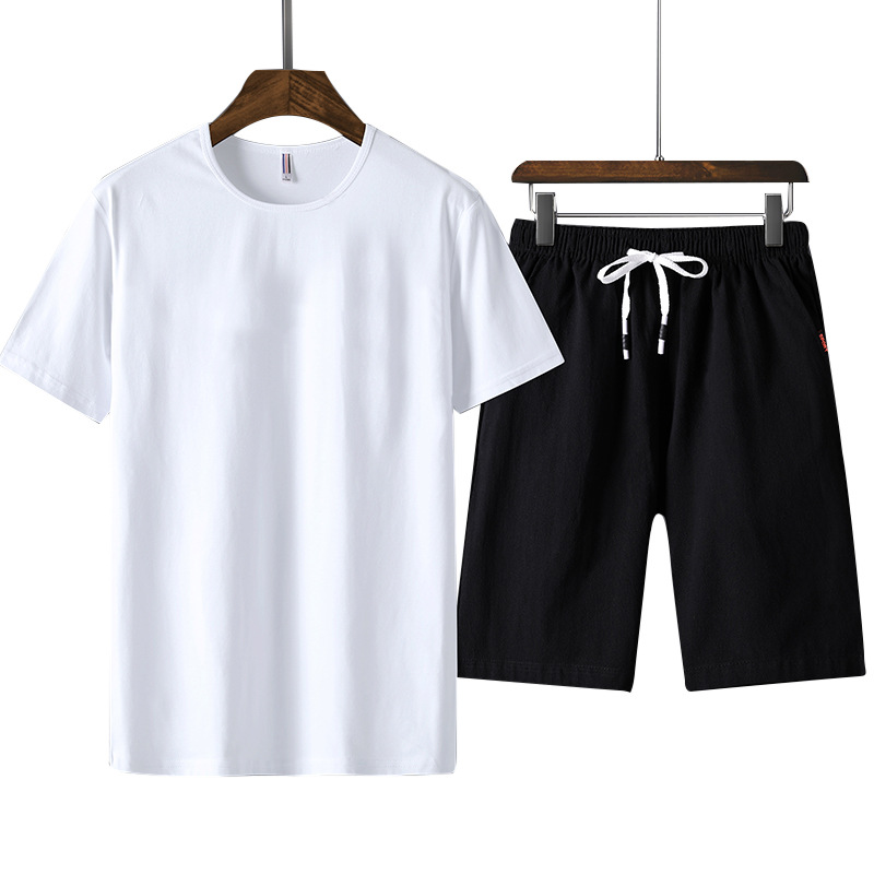 Men's Sportswear Summer 100% Cotton Sports Suit 2019 New Tracksuit Men O-neck Short Sleeve Solid Casual Men's Clothing