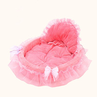 Princess Dog Bed Soft Sofa For Small Dogs Pink Lace Puppy House Pet Doggy Teddy Bedding
