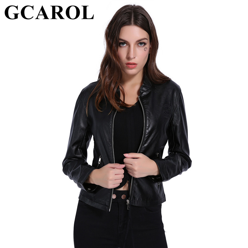 GCAROL New Arrival Women Zip Up Faux   Leather   Jacket Two Pockets Elegant Short PU Coat OL Office Black Outwear S-XL