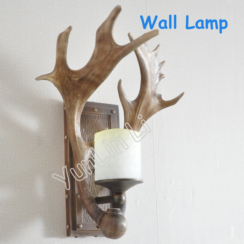 Antlers Wall Lamp American Country Style Lamp Personality Retro Wall Lamp with Resin Material XL035-1W цены