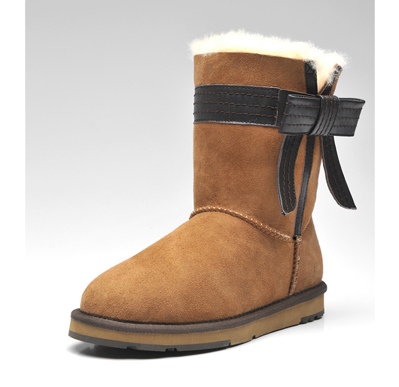2016 Australia imported sheep fur and leather boots winter sheepskin women snow boots with  bow  anti-slip high quality гоголь н портрет