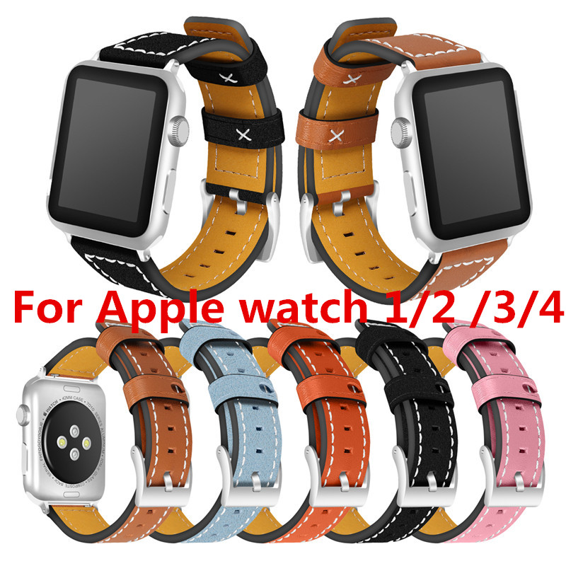 50PCS High quality for Apple Watch Bands 44mm 40mm 38mm 42mm genuine leather watchbands watch bracelet