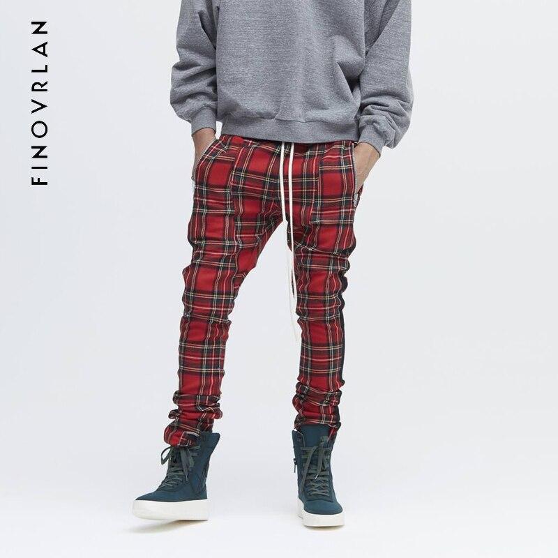 La peur de Dieu bande treillis Harem Pantalon Joggeurs Hommes 2018 printemps Hip Hop Casual Piste Pantalon Streetwear Pantalon kanye west pantalon