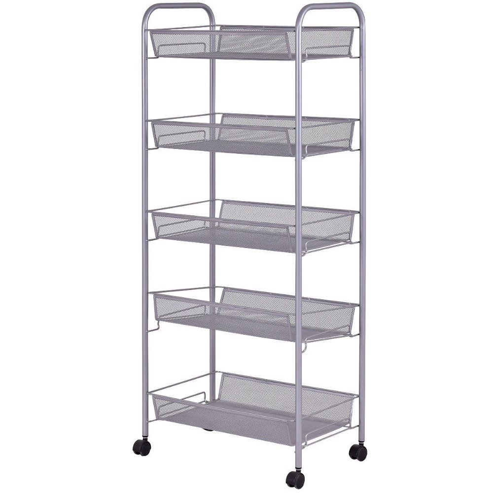 Mesh Rolling File Utility 5 Tier Cart Home Office Kitchen Storage Basket 6