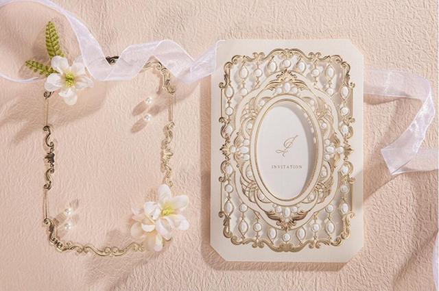 Gold Bilderrahmen Hochzeit Einladungskarten Heißprägen Geburtstag Party  Einladungen Karte Mit Perlen, 100 STÜCKE