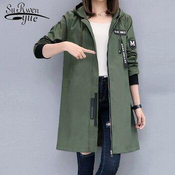 5fb8e5185df Модная женская куртка 2018 с длинным рукавом Повседневная однотонная  осенняя куртка с капюшоном средней длины армейская