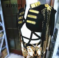 Модный сексуальный женский сценический костюм для певцов Женская Золотая зеркальная цепочка с кисточками без рукавов куртка одежда танцев