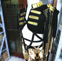 Fashion Sexy Women Stage Costume For Singers Female Gold Mirror Chain Tassel Sleeveless Jacket Clothes Dance Wear