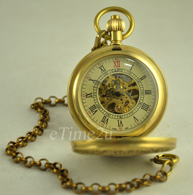 High Quality Classic Unique Steampunk Copper Roman Numerals Hand Winding Mechanical Pocket  Watch with Chain Relogio De Bolso