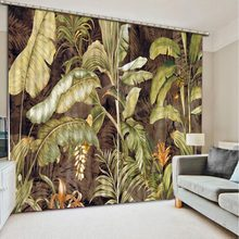 custom curtains Depicting oil painting leaves Blackout 3D Curtains set Bed room Living room Office Hotel Home Wall Decorative(China)