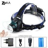 USB LED Headlamp XM L L2 5000LM Headlight Motion Sensor Headlamps Head Lamp Torch Flashlight Outdoor