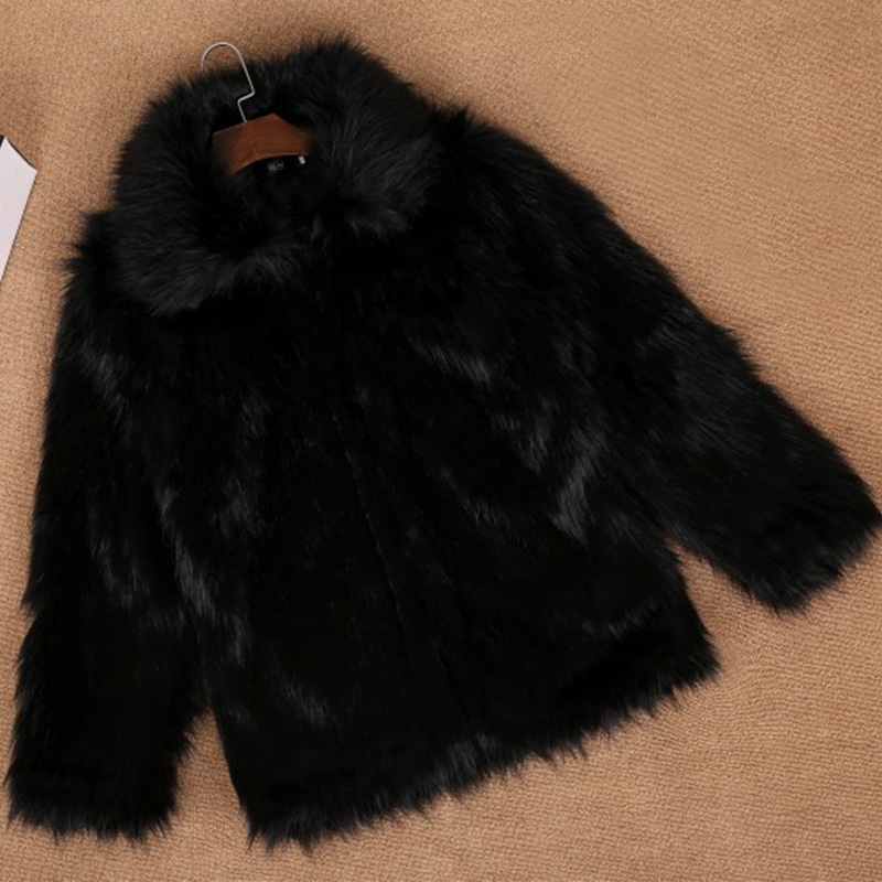 mens <font><b>faux</b></font> fox fur coats <font><b>top</b></font> quality casual office male fur overcoat thick winter clothes plus size new fashion