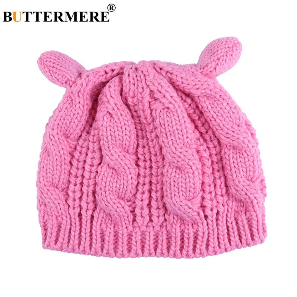 BUTTERMERE 니트 모자 비니 여성 핑크 귀여운 캐주얼 겨울 Skullies 캡 여성 귀엽다 한국어 봄 크로 셰 비니 귀