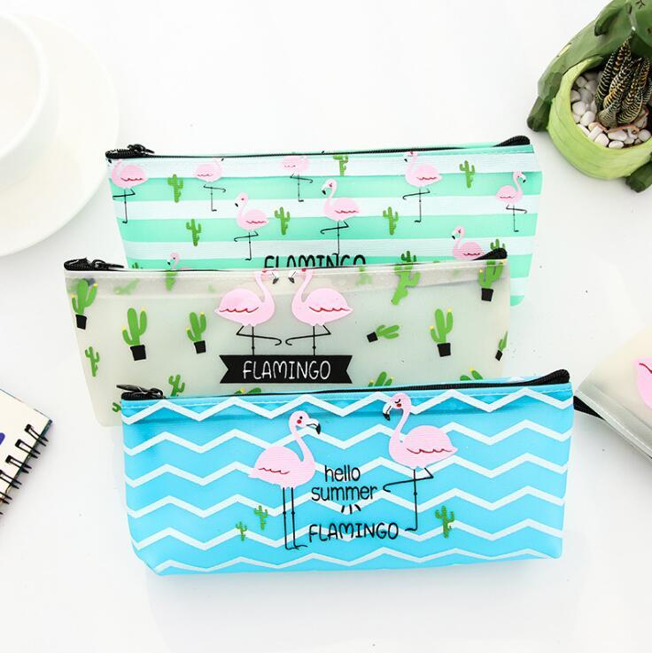 Flamingo Love Cactus Silicone Waterproof Pencil Bag Stationery Storage Organizer Case School Supply Student Prize