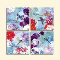 4 PCS Sem Moldura Pintura de Parede Pássaro Borboleta Libélula Flores Coloridas Modernas Pinturas Da Lona Arte Decoração Para Casa Fotos Antigas