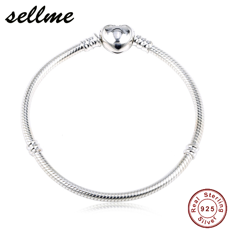 Authentic 100% 925 Sterling Silver Snake Chain Moments Heart Bracelet & Bangle Luxury Silver Jewelry 16-22CM