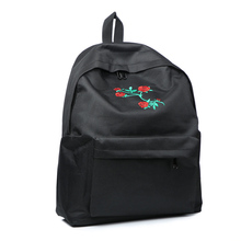 Women's Stylish Canvas Backpack with Rose Themed Embroidery