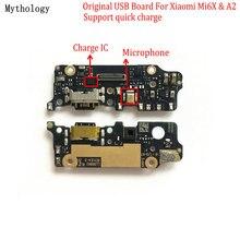 מיתולוגיה מקורי עבור שיאו mi mi A2 6X USB לוח Flex כבל Dock מחבר mi crophone נייד טלפון IC תמיכה מהיר מטען