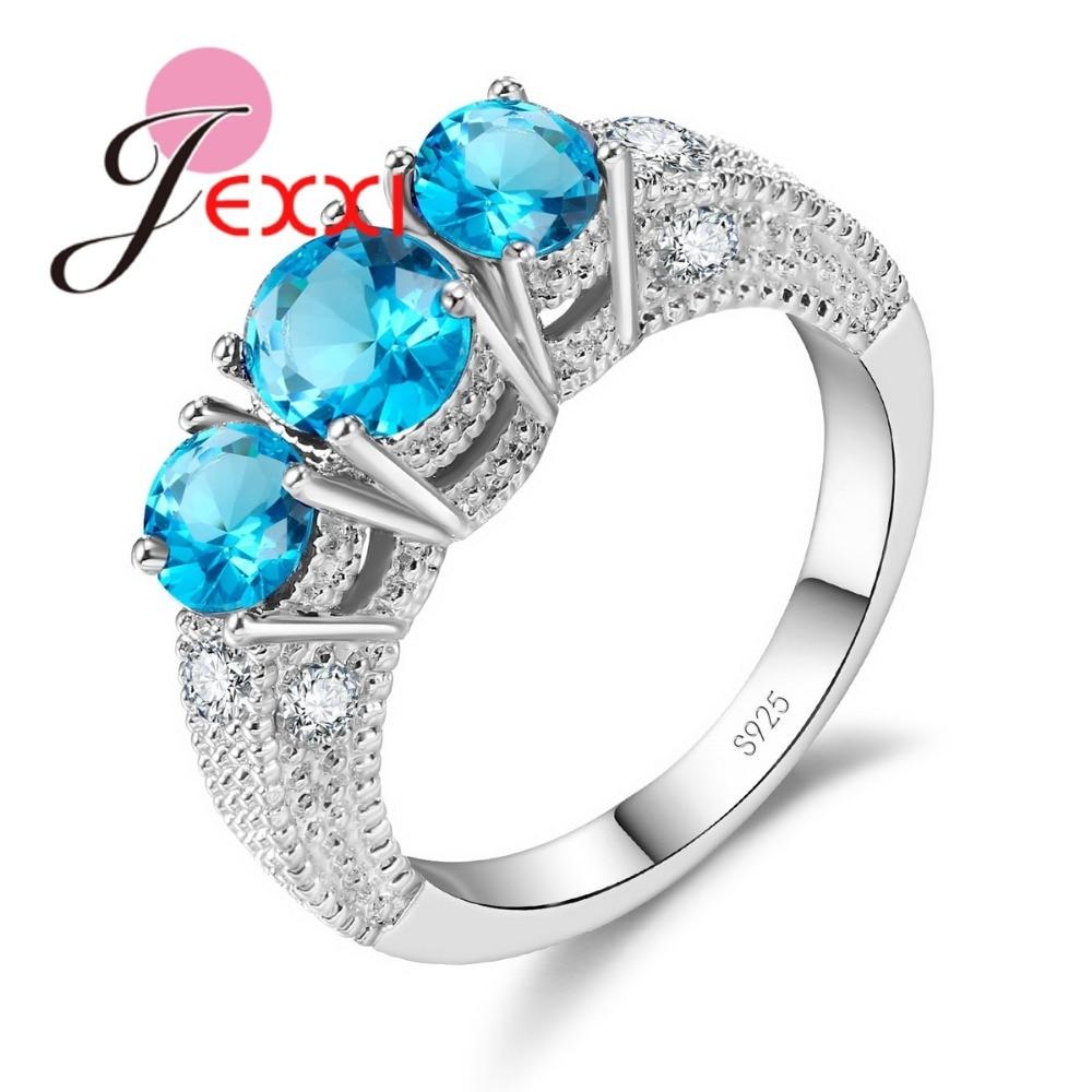 Módní 3 kulaté kubické zirkony prst prsten 925 stříbro pro ženy zásnubní a svatební šperky