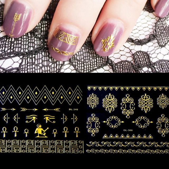 Cool Punk Women Fashion Gold Stripe Nail Art Sticker Flower Cat Diy
