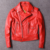Free shipping,New style Brand fashion Genuine leather women jackets.female sheepskin jacket Suede slim plus size red