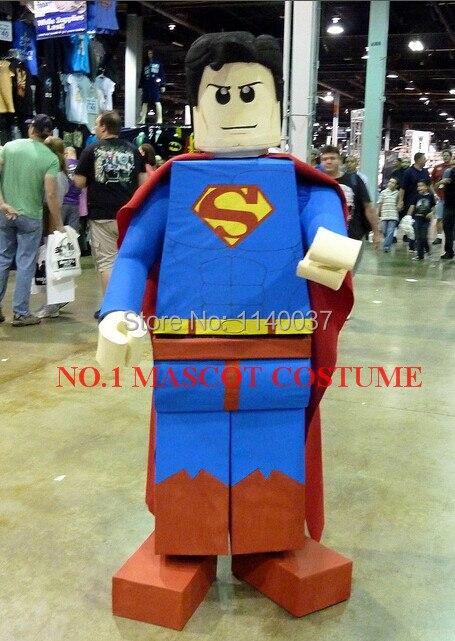 blok bakstenen SUPERMAN mascotte mascotte stripfiguur kostuum - Carnavalskostuums
