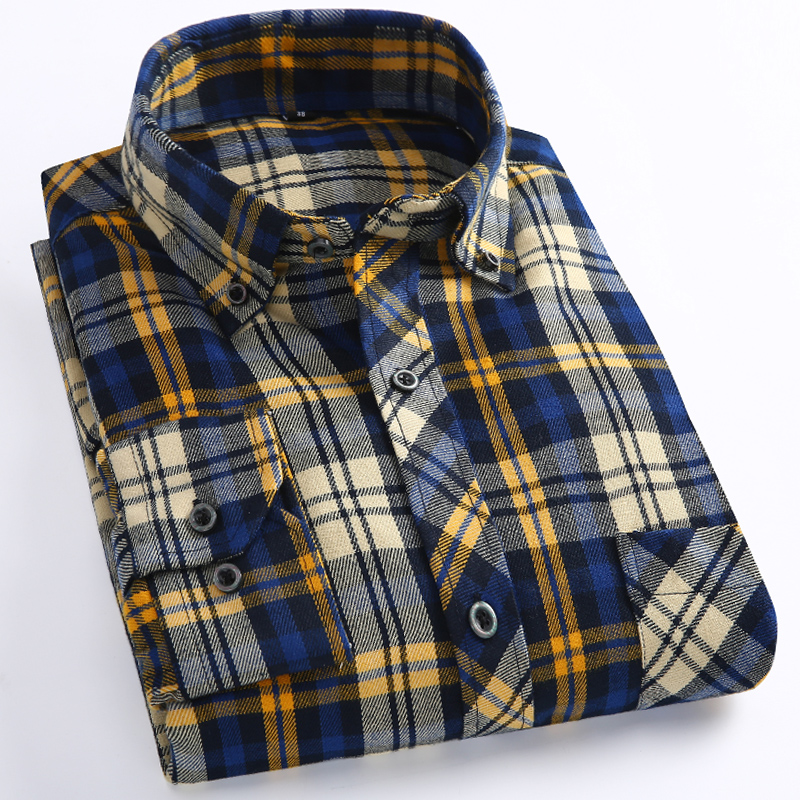 Long Sleeve Shirt Man Casual Plaid Fitted Korean Style With Pocket Checkered Mens Shirts Chemises Homme Men Social Dress Shirt